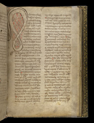 Zoomorphic Interlace Initial, In A Volume Of Miscellaneous Prose And Verse Theological Texts f.27r